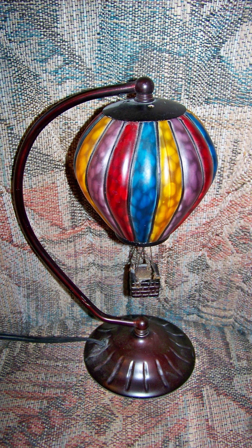 Vintage Stained Glass And Metal Lamp Light Beautiful By