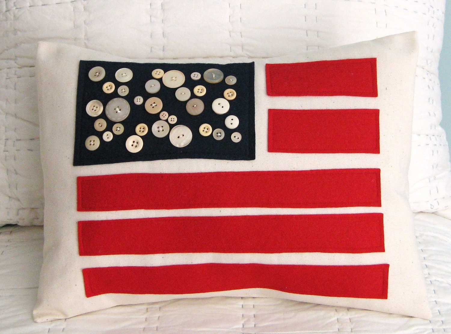 Folk Art American Flag Pillow Cover