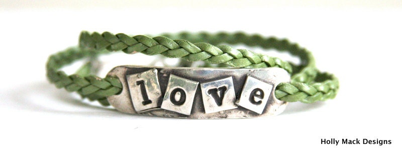 Three strand leather wrap bracelet, green leather, fine silver Love charm, PMC, sterling silver, handcrafted, gift - HollyMackDesigns