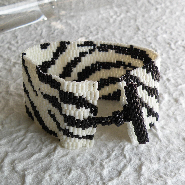 Zebra Peyote Cuff