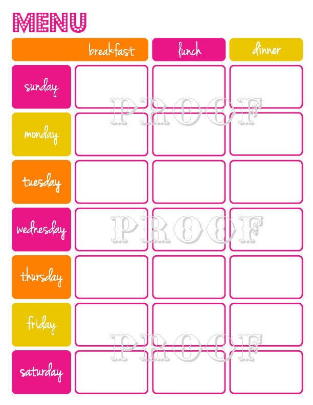 Items similar to Printable Weekly Menu Planner . Two Color Schemes ...