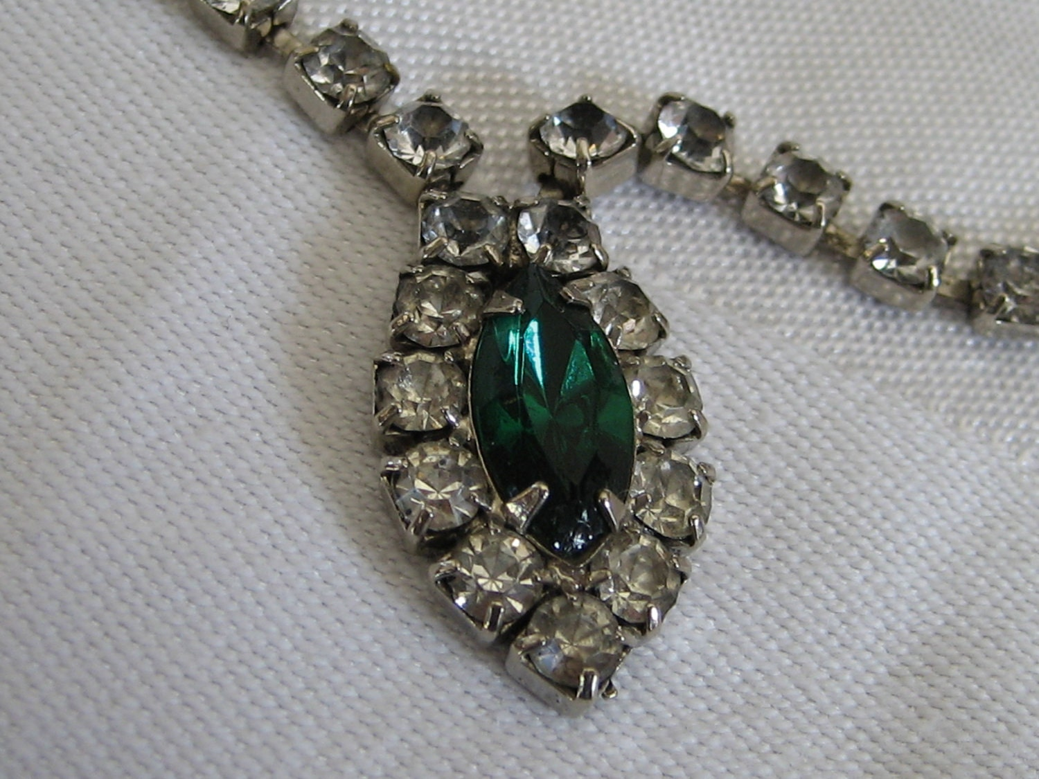 vintage emerald green and rhinestone costume jewelry by abandc