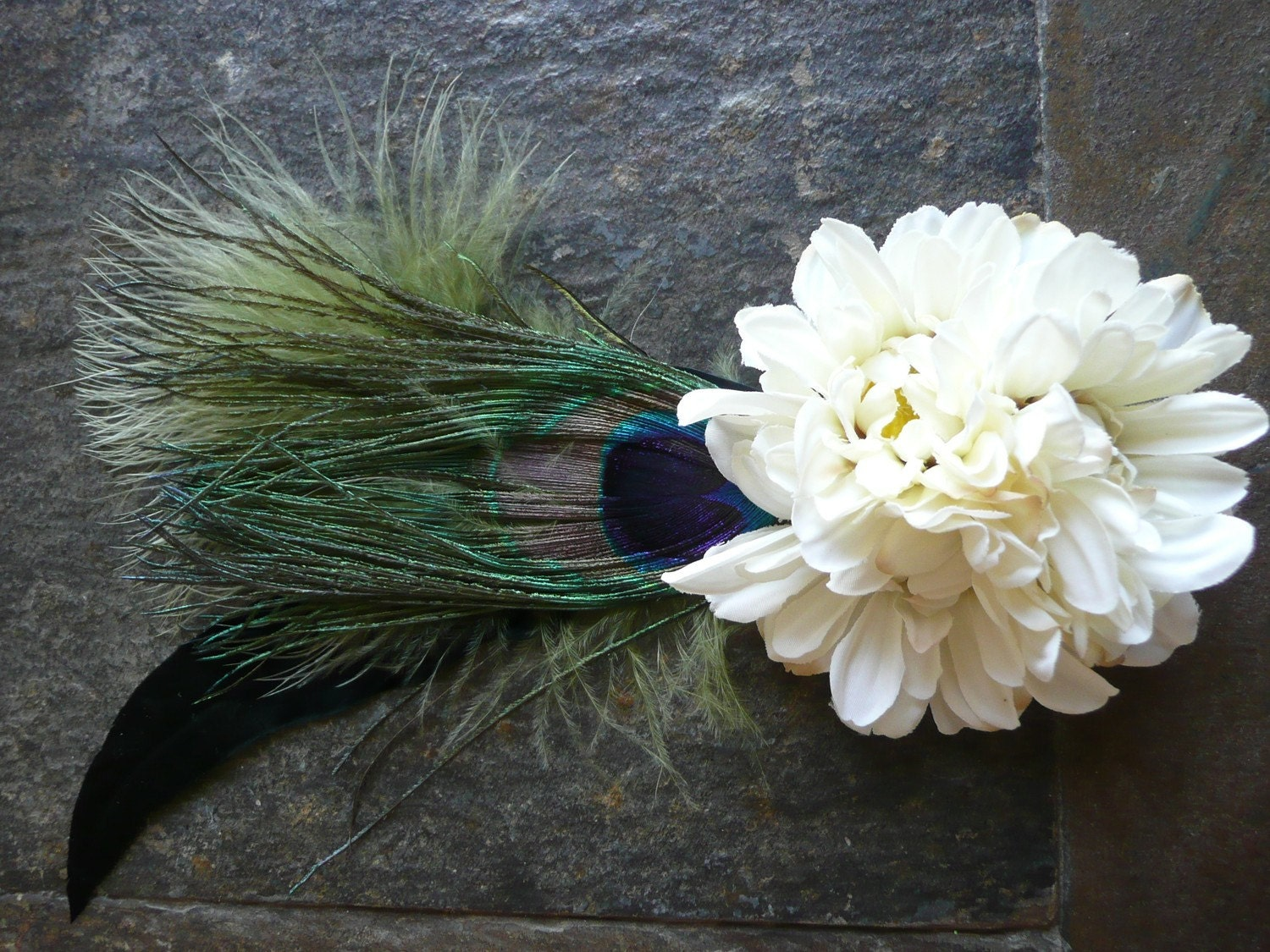 Coco: Bundle of white Delphium with a Peacock and Black Crow Feather. Free Worldwide Shipping