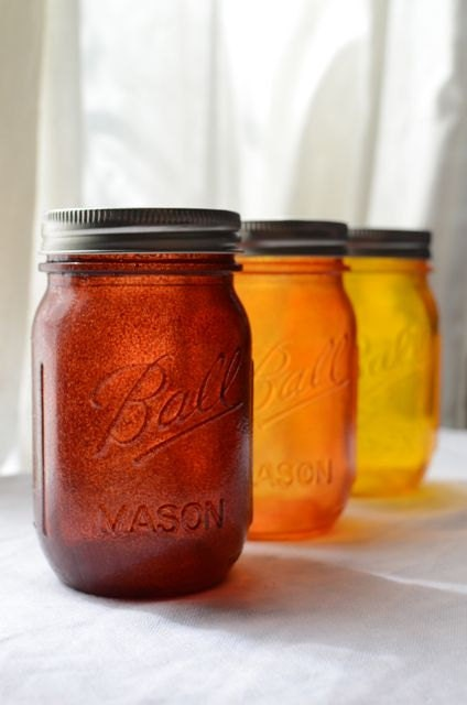 Stained Mason Jars, Pint Size, In Autumn Colors, Set of 3 - willowfairedecor