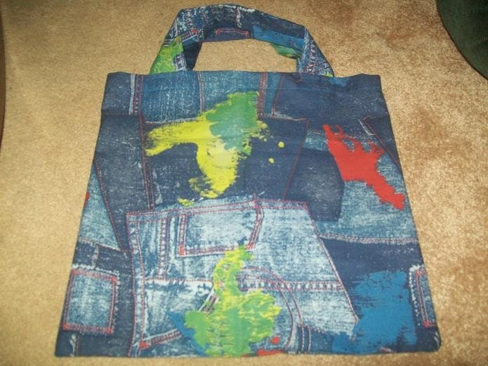 Blue Jean Print Fabric Bag