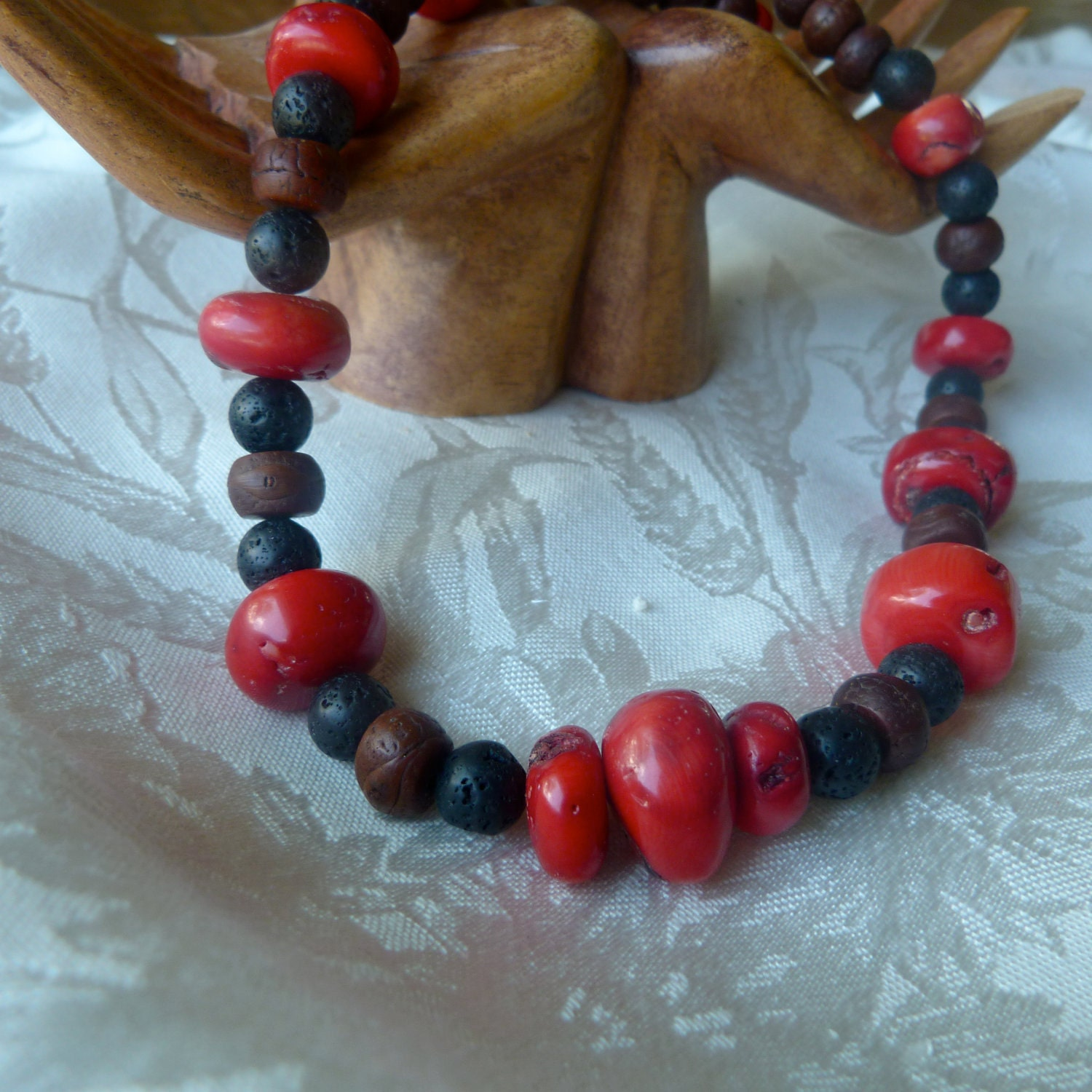 Chunky Red Coral, Lava Rock and Bodhi Seed Necklace - StoneSongNecklaces