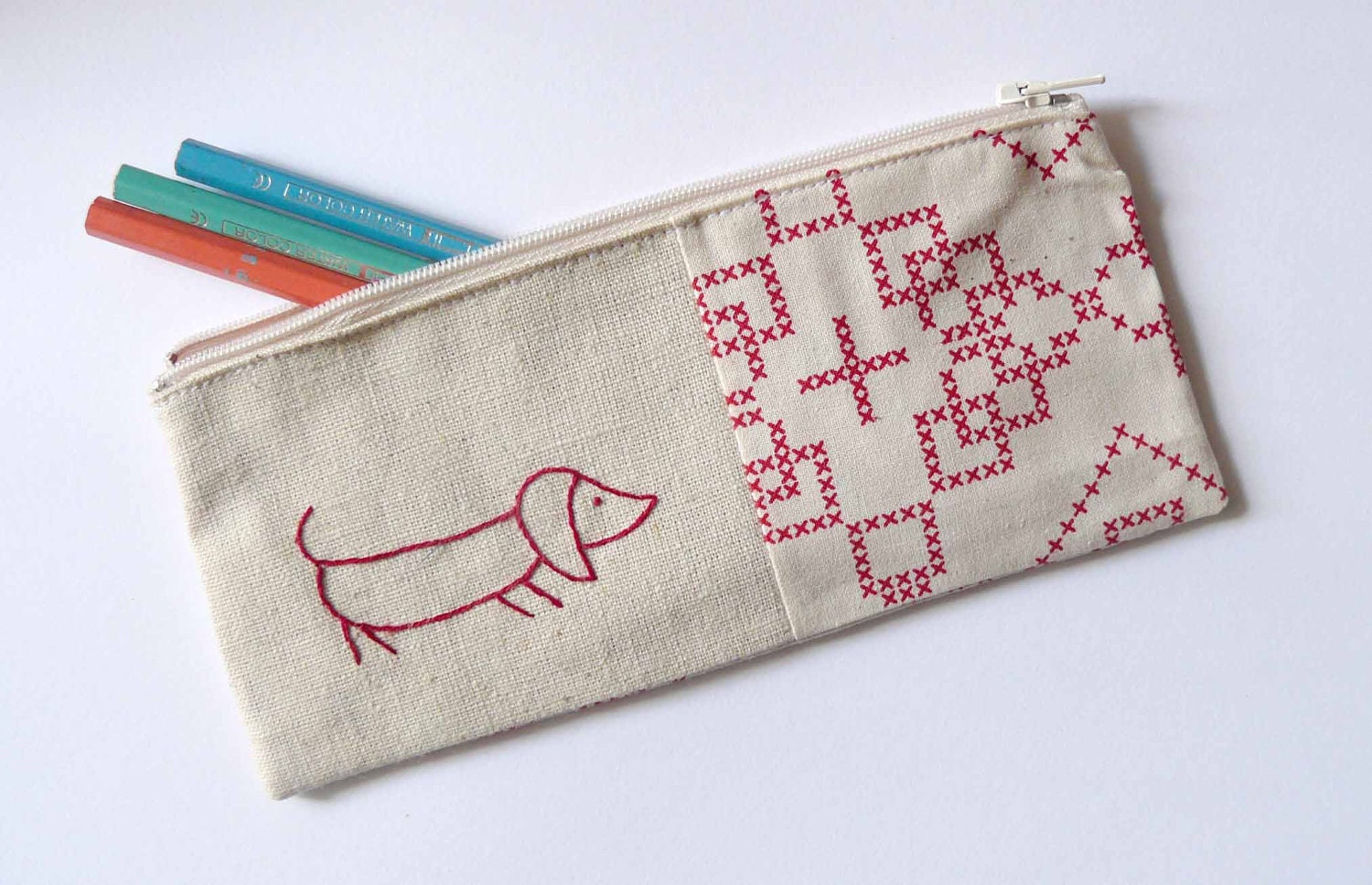 pencil case with red sausage dog embroidery. cross stitch patterned taupe fabric - edwardandlilly