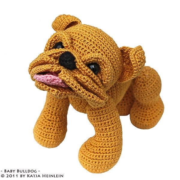 Free Pattern For Crochet Bulldog : Baby Bulldog puppy pdf tutorial by Katja Heinlein by ...