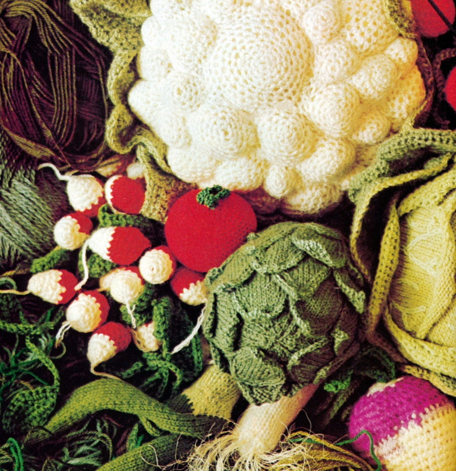 Vintage Crochet Knitting Pattern Vegetables by 2ndlookvintage