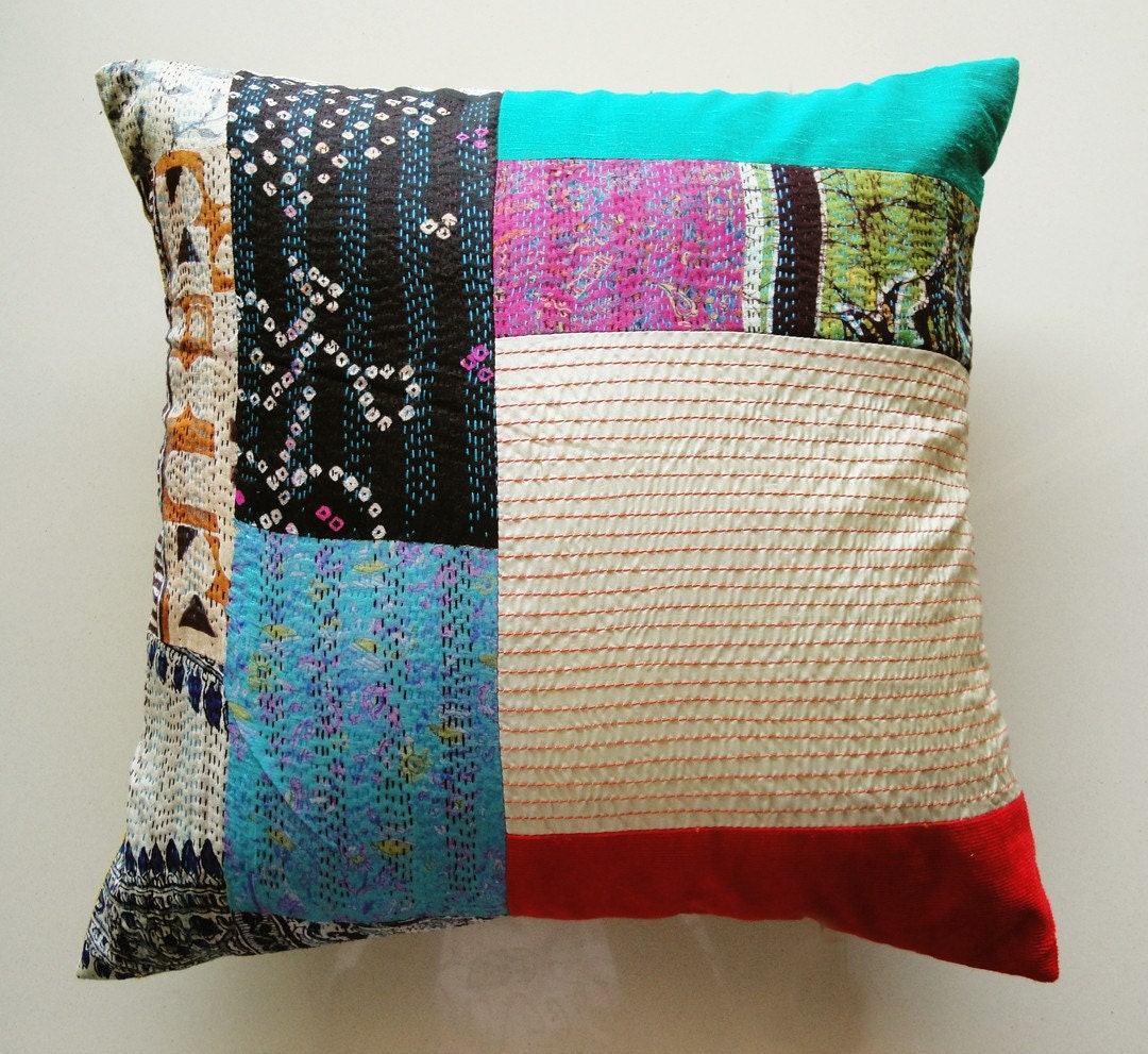 Kantha Silk Patchwork Cushion