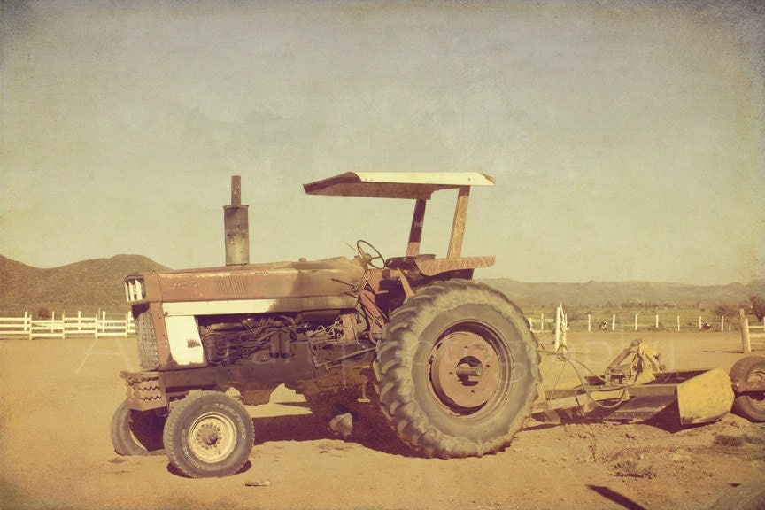 "Vintage tractor photography - Shabby rustic - Fine art harvest photograph - 8x12 ""Antique tractor"" - AlezuArt"