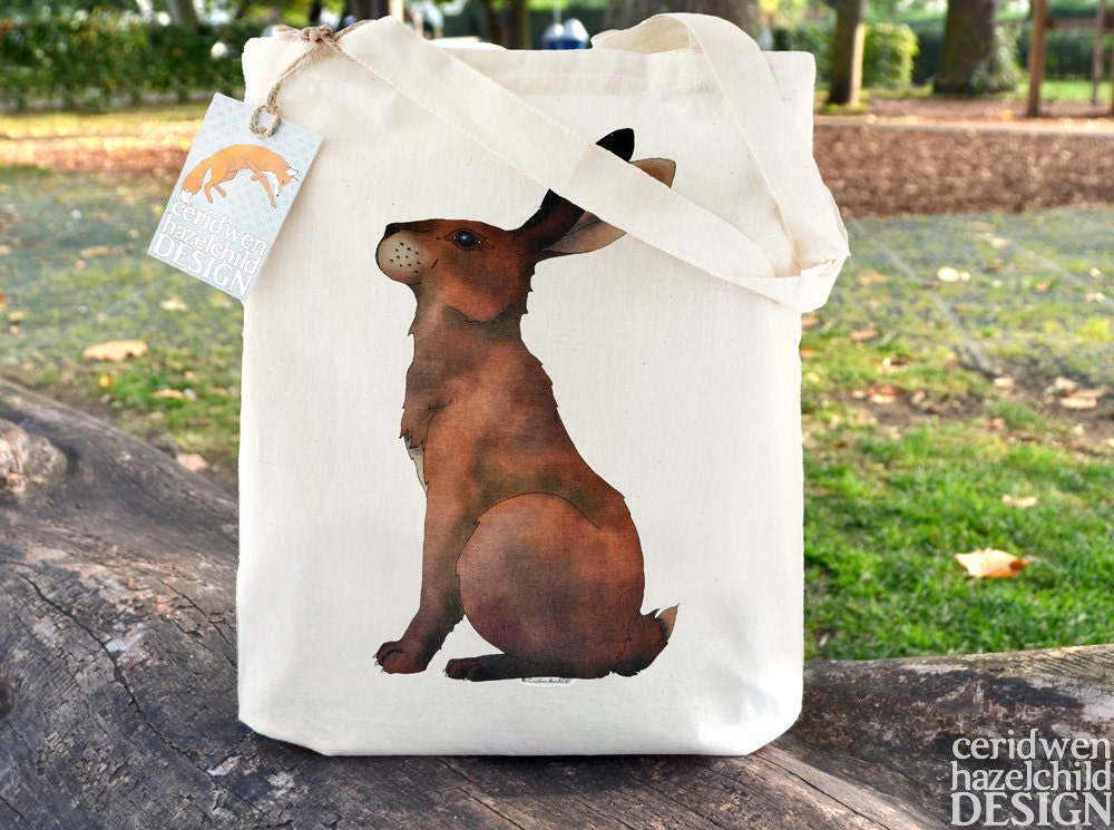 Hare Tote Bag Reusable Shopper Bag Cotton Tote Ethically Produced Shopping Bag Eco Tote Bag