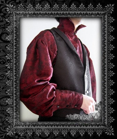 Red Jacquard High Collared Shirt - Red Bastian by Kambriel - Custom Made for You