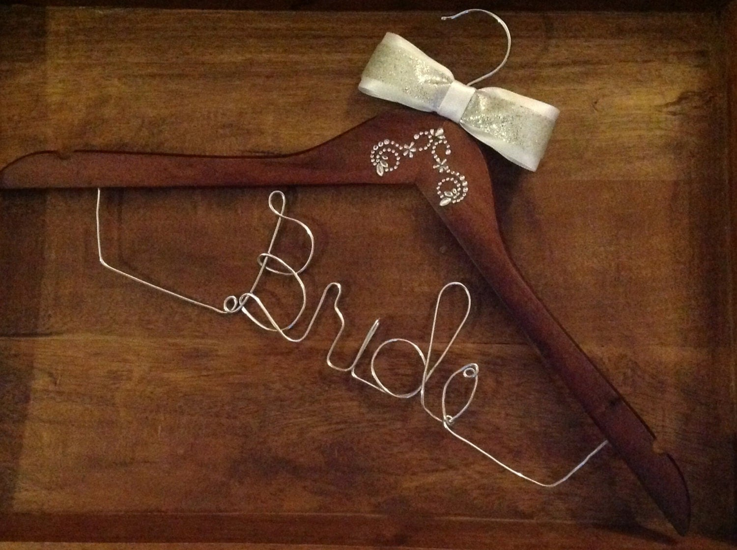 Bride Hanger - Custom Wire Hanger Personalized for Any Bride - Ivory/Silver Bow and Corner Embellishment
