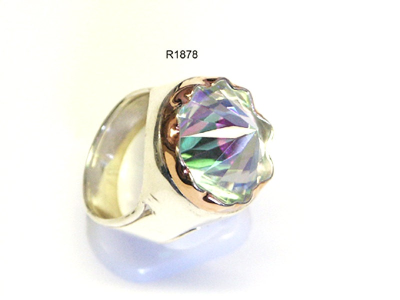 Sterling Silver Ring Rainbow Fashion Stone New Craft Art Silver