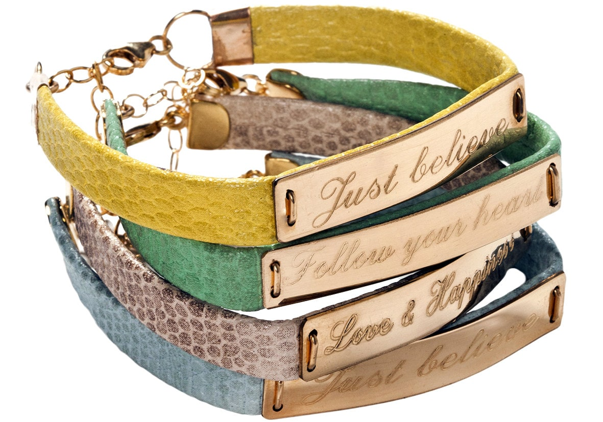 Personalized wish bracelet-leather & goldfilled