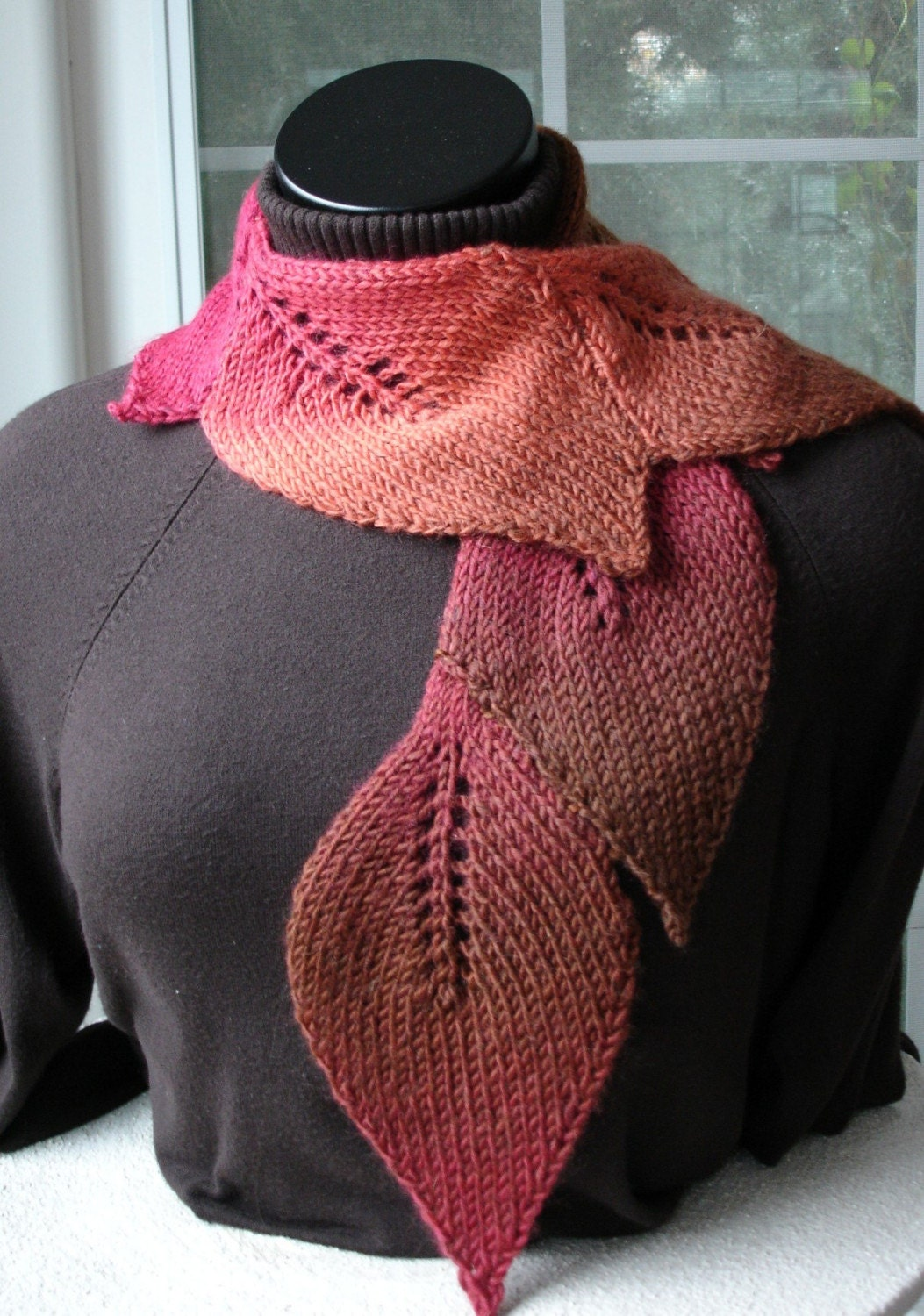 Hand Knit Leaf Scarf in Autumn colors