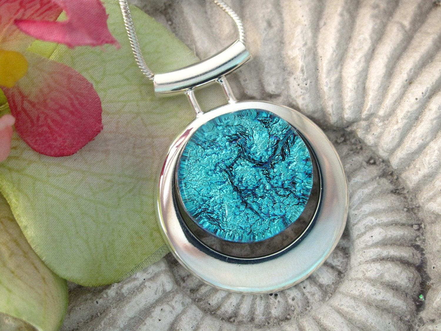 Blue Slide Necklace - Dichroic Fused Glass Jewelry -  Dichroic Necklace - Fused Glass Jewelry - Aqua Blue Necklace 100612p126