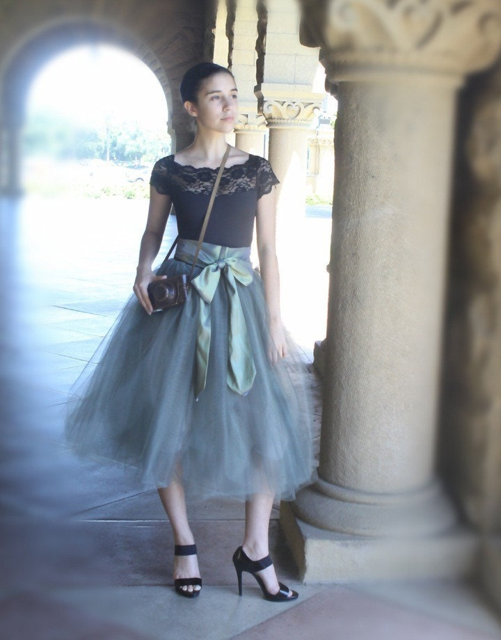 Grey tulle tutu skirt for women--lined in black satin with black satin waist.