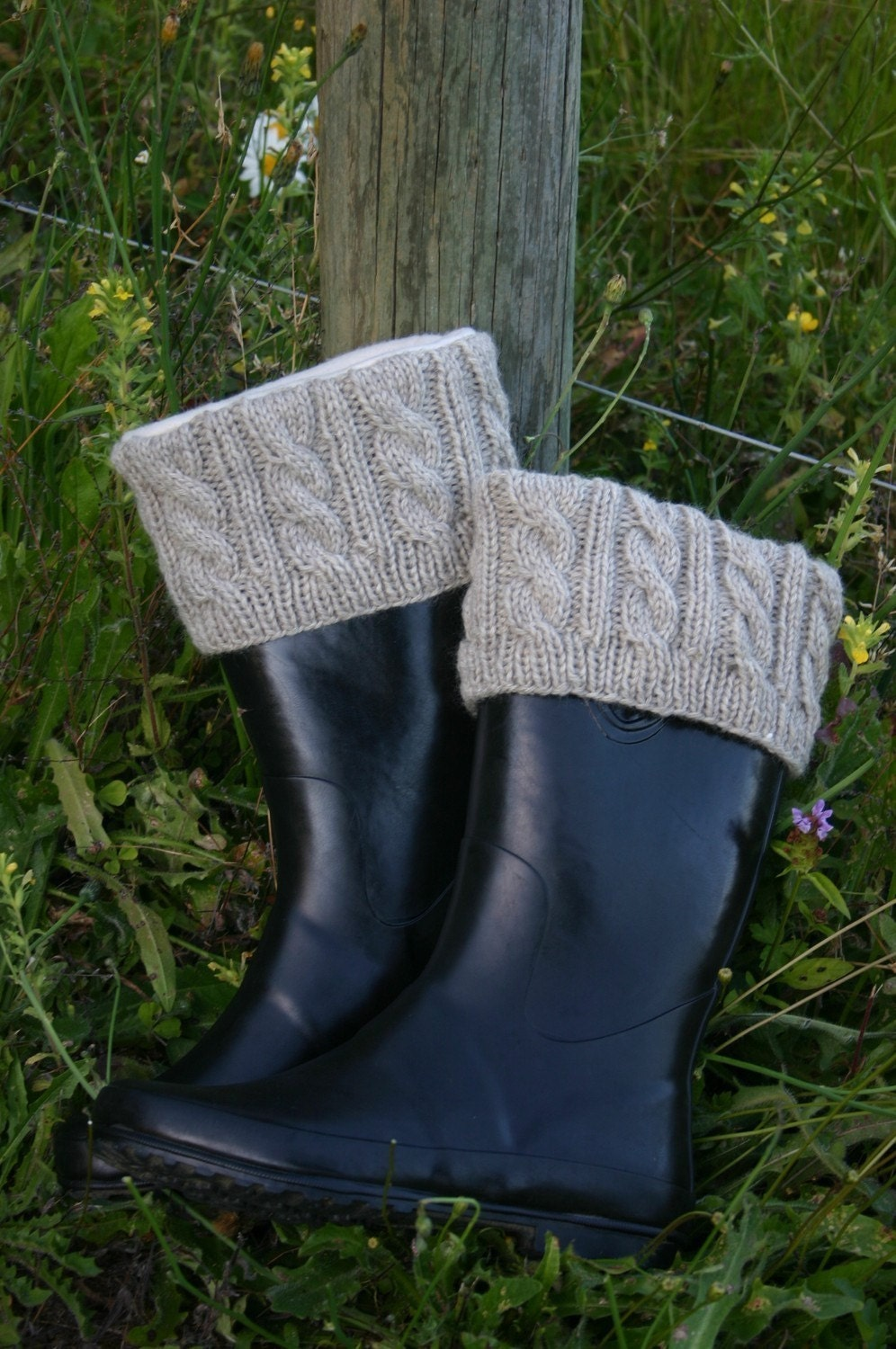 Knit Boot Socks Pattern : Items similar to PATTERN Knitted Boot Cuffs with Full-boot Fleece Sock Liner ...