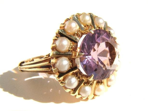14K Gold Vintage Cocktail Ring with Amethyst and Pearls - Size 5 - 1970s
