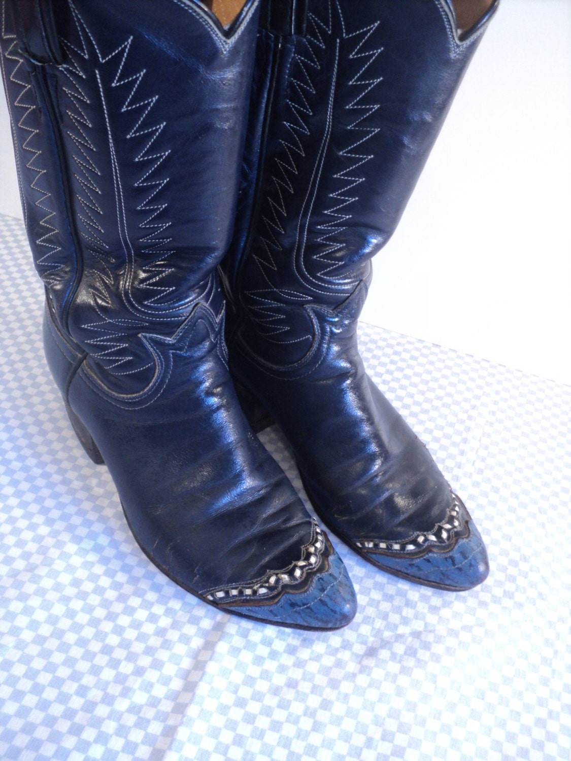 navy blue cowboy boots leather womans misses by