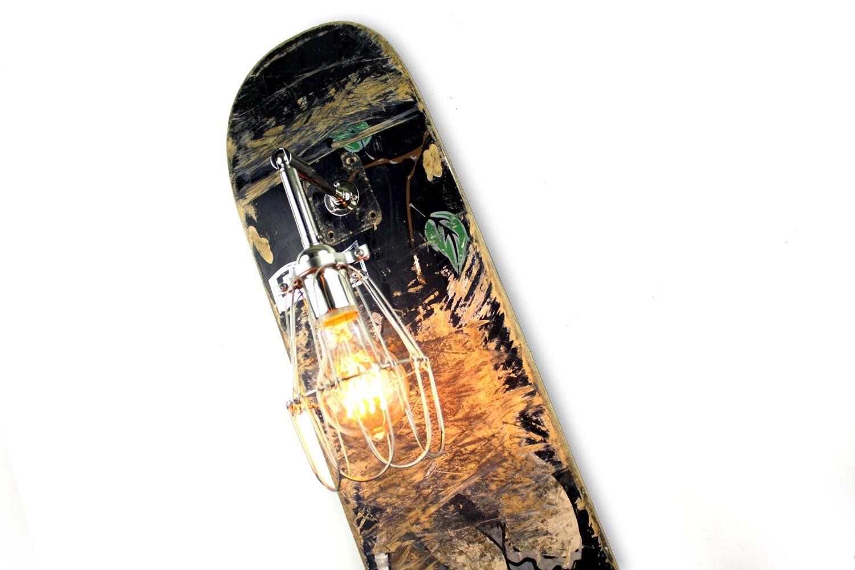 Weathered Skateboard Sconce Repurposed Lamp By WeareMFEO