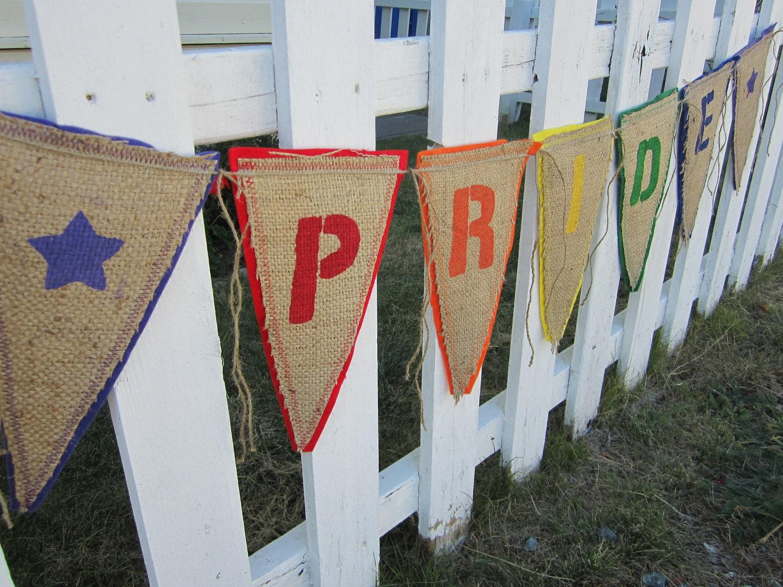 Upcycled Burlap Banner, Gay Pride Burlap Banner, Eco Friendly Rainbow Gay ...