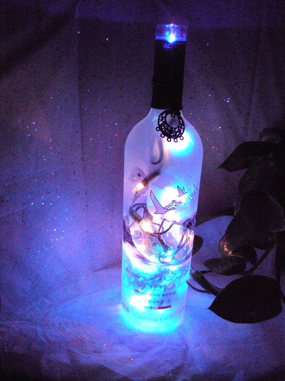 Gray goose lighted wine bottle by mamabearsincense on etsy for Light up wine bottles