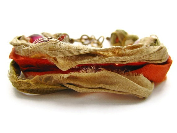 Orange and Olive Bohemian Sari Silk Bracelet With Hammered Brass Chain and Key Charm - heversonart
