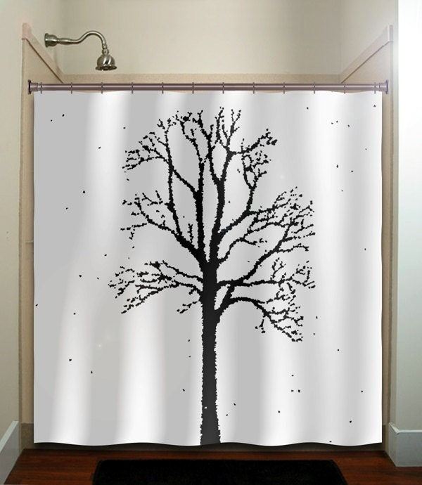 oak forest woodland winter trees shower curtain by