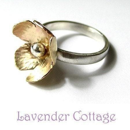 Handmade Sterling Silver and Brass Flower ring - Buttercup