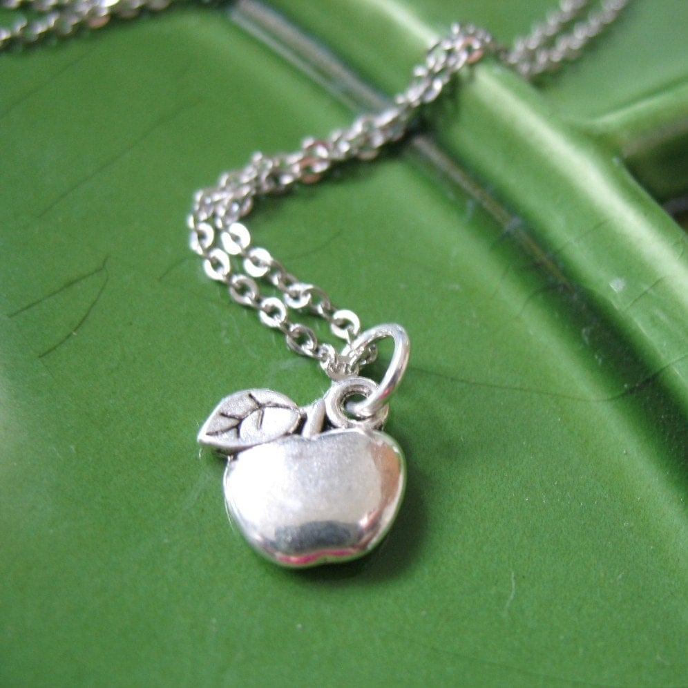 Apple for Teacher Charm Necklace