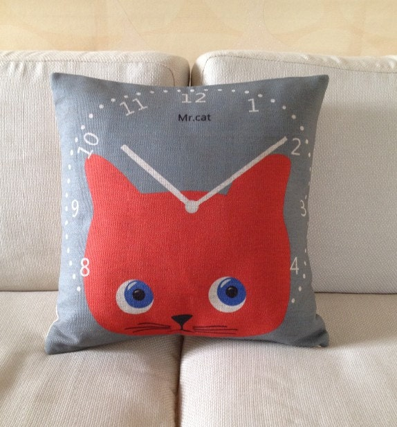 "Handmade Decorative Pillow Cover red cat watch  lover  animal Printed Throw Cushion Case 18"" - linxge"