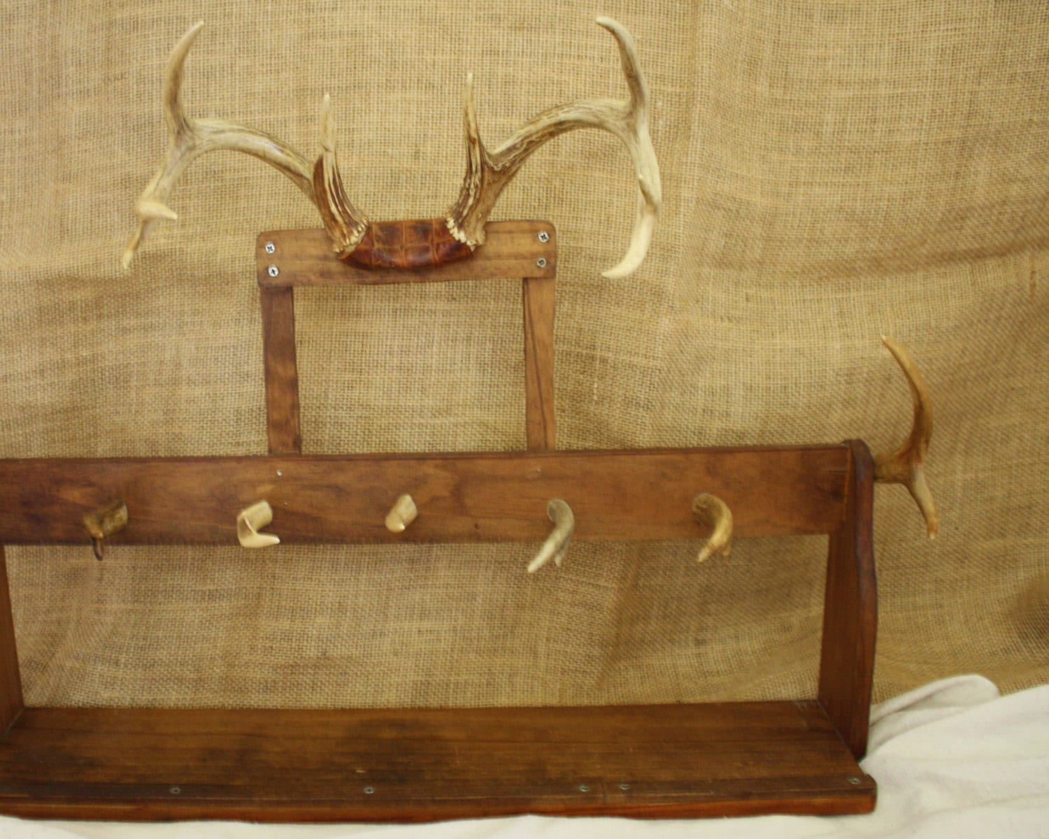 Deer antlers and wood hat rack hall tree shelf by adoannies - Adding character to your hallway with a hall tree ...
