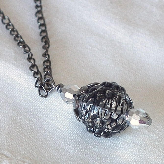 Necklace Jet Black  Floral Bead Crystals