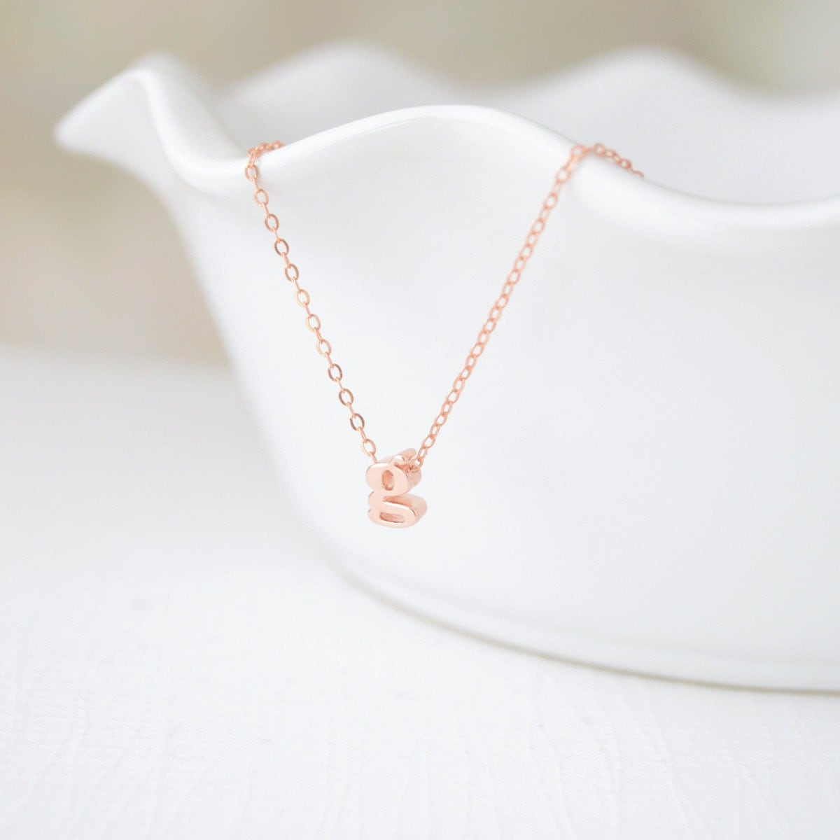 Lowercase rose gold initial necklace 1001 by oliveyewjewels for Lowercase letter necklace