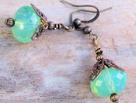 Apple Green Victorian Earrings