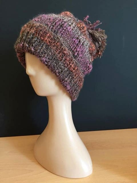 Hand Knitted bobble hat  plumdark orangebrown (foxley)