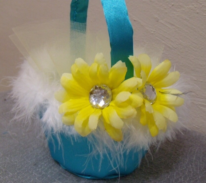 Flower Wedding Basket Crystal BLING White Black Yellow Malibu Blue