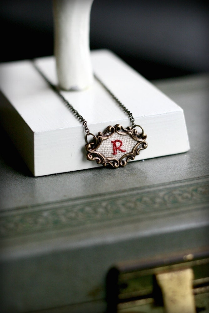 Made to Order Hand Embroidered Initial Necklace