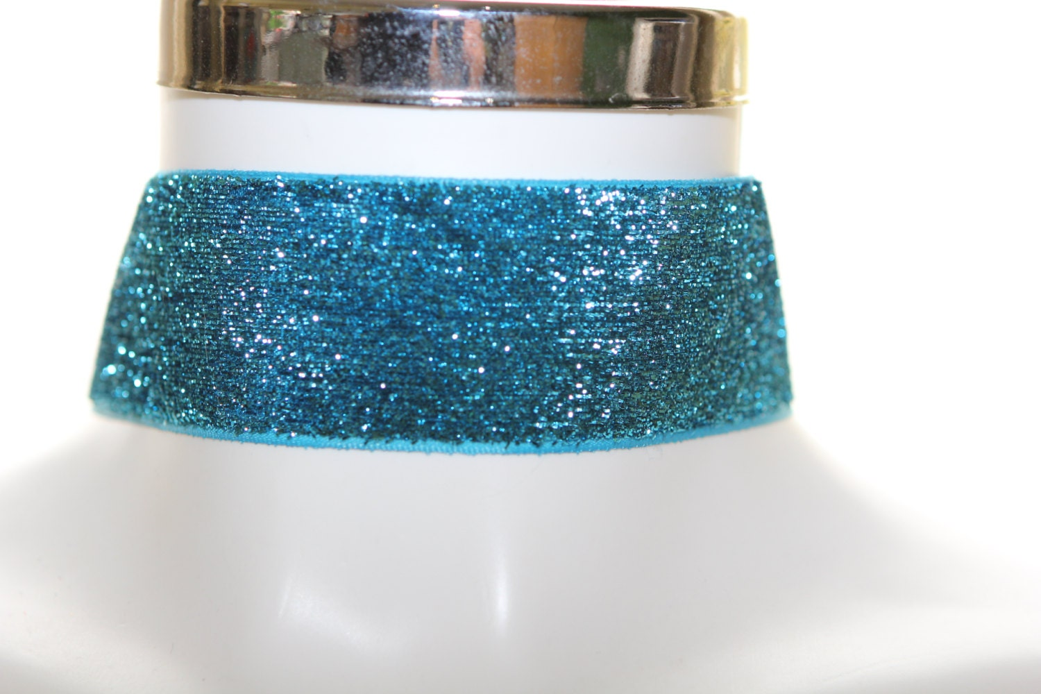 Wide Teal Blue  Glitter Velvet necklace gothic victorian style 50mm wide choker