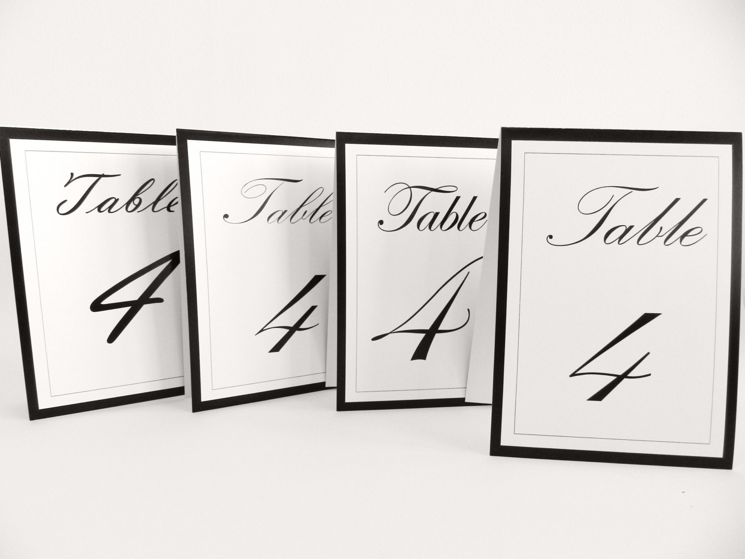 Wedding Table Numbers Tents I Classic, Edwardian black and white I 4 types of calligraphy - FunkyBoxStudio