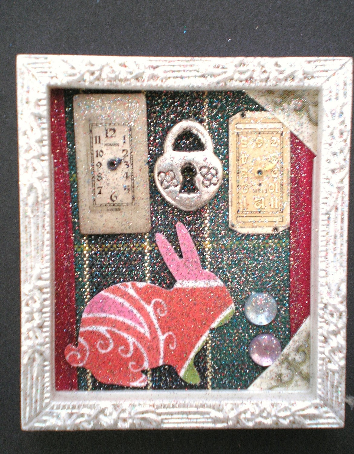 Don't Ask ALICE - Tiny Collage Mixed Media OOAK Framed Signed with Jewels Rabbit Ribbon Watch Parts