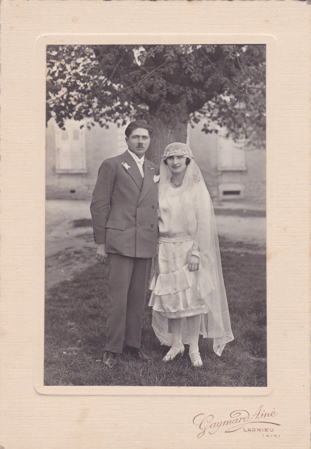 Antique Wedding Photograph  Bride And Groom  c1920s1930s  Art Deco  Dress  Fashion