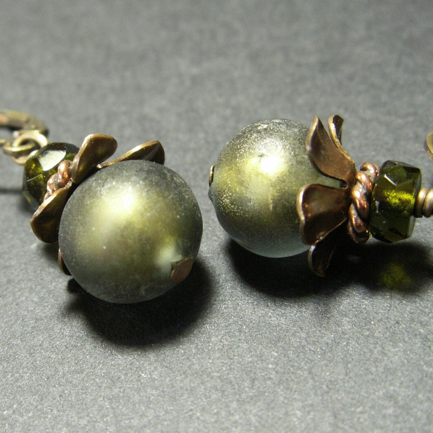 handmade jewelry earrings brass Italian glass beads olive green