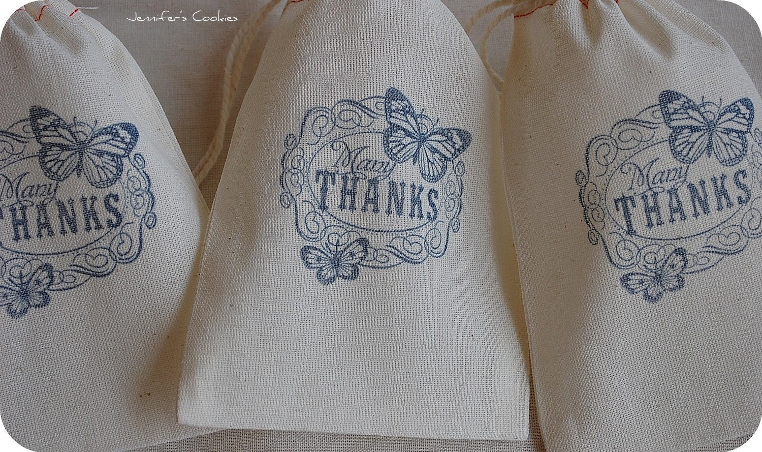 10 Blue Many Thanks with Butterfly Muslin Drawstring Favor Gift Bags 4x6