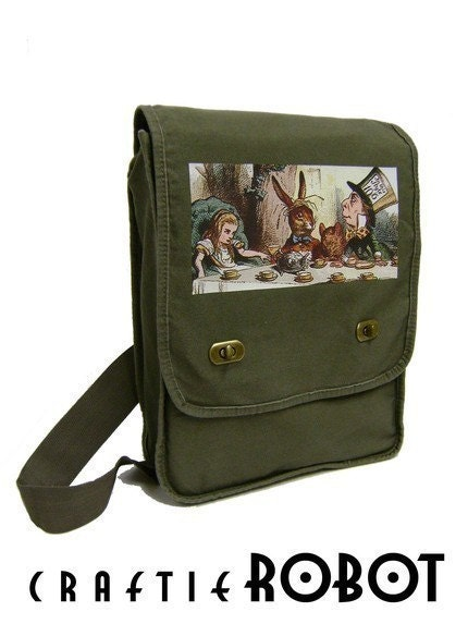 alice in wonderland tea party unisex MESSENGER / LAPTOP BAG