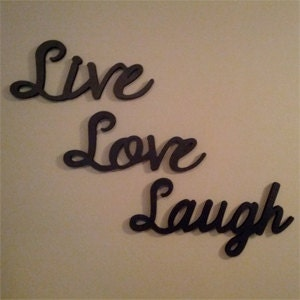 Live laugh love wooden wall words and home by lettersbyleslie for Live laugh love wall art