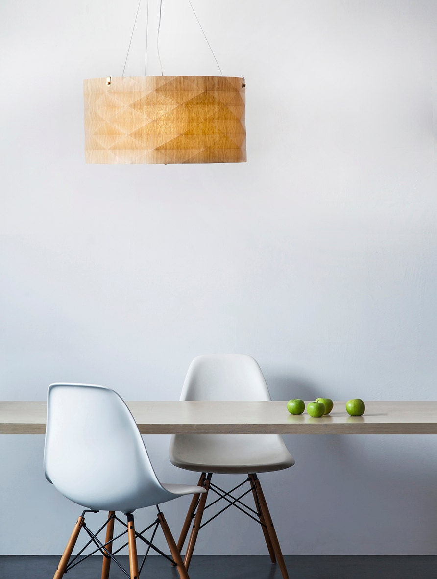 Contemporary Hanging lamp designed and unique, made of veneer, warm light and natural - arielzuckerman